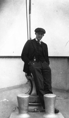 Ernest Hemingway aboard a ship enroute to a Michigan fishing trip circa 1915.