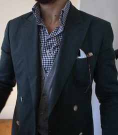 White Pocket Square — Navy Double Breasted Blazer — White and Navy Gingham Longsleeve Shirt — Grey Cardigan Mens Fashion Blog, Fashion Mode, Look Fashion, Lifestyle Fashion, Suit Fashion, Male Fashion, Winter Fashion, Fashion Trends, Gentleman Mode