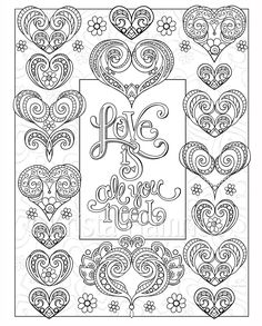 Love Hearts 2 Coloring Pages For Valentines Day