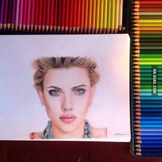 "Wow...this is amazing!   ""I drew Scarlett Johansson (yay) No banana for scale, sorry."""