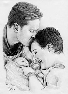 David and Snow with baby Neal - Snowing family art by Kat Bjorky