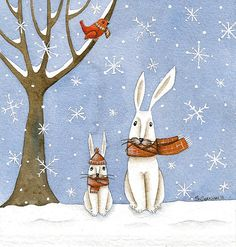 Watercolor Print Art Rabbit  Snowfall  Limited by ilgrandealbero, $15.00
