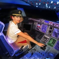 Where would you like to go in my Don't worry, this aircraft is firmly parked at the international airport after a flight from Munich. I was lucky enough to have my photo taken in the captains seat! ✈️✈️✈️ Photo credit goes to Lufthansa Pilot, Emirates Airline, Emirates A380, Flight Attendant Hot, Emirates Cabin Crew, Airline Pilot, Female Pilot, Flight Deck, Girls Uniforms