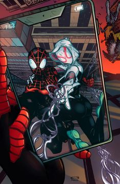 Spiderman And Spider Gwen, Spiderman Art, Amazing Spiderman, Dc Comics Vs Marvel, Miles Morales Spiderman, Comics Love, Black Cat Art, Spider Verse, Disney Art