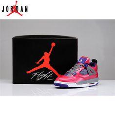 sports shoes 9fa99 fd7a4 487724-018 Girls Air Jordan Retro 4 (PS) Pink Purple Grey,Jordan-Jordan 4  Shoes Sale Online