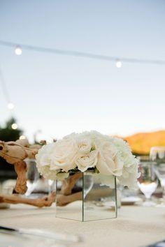 Petite Florals in Mirrored Vase / Barn Wedding / Brown Paper Design / Yvette Roman Photography / Sterling Social / Bliss & Bone
