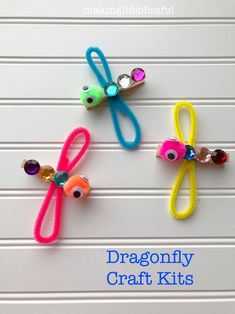 Craft kits for kids - Dragon fly craft - Crafts for kids - Insect crafts - Kids' crafts - Insect Crafts, Bug Crafts, Craft Stick Crafts, Clothespin Crafts, Neon Crafts, Popsicle Crafts, Paper Crafts, Etsy Crafts, Craft Kits For Kids