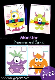 Monster measurement cards for measuring length with non-standard units ~ Fairy Poppins Students will be using unified cubes to measure the length of the monsters. They will then count the cubes to identify how many cubes long or wide a monster is. Measurement Kindergarten, Measurement Activities, Math Measurement, Kindergarten Centers, Math Classroom, Math Centers, Math Activities, Preschool Activities, First Grade Measurement