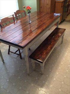 Great DIY Pallet Farm Table Desk | Pallets Furniture Designs