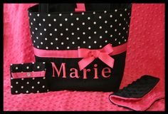 Pink and black Diaper Bag with polka dots
