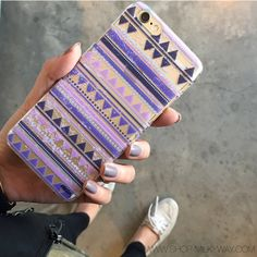 """milkyway - Clear Plastic Case Cover for iPhone 6 (4.7"""") Purple Aztec Pattern"""