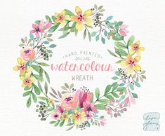 Watercolor wreath: PNG floral wreath clipart / Wedding invitation clip art / spring flowers / commercial use / Pink and yellow CM0084a
