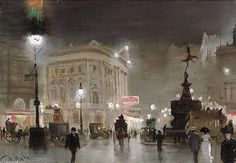Piccadilly Circus At Night de George Hyde Pownall (1876-1932)