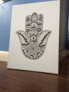 Black and White Hamsa Hand Canvas Painting