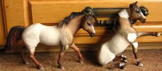 The original (left) and a customized schleich Quarterhorse to be (right)