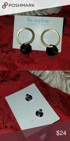 NWT LIA SOPHIA Elegant Black and Gold Earrings Lia Sophia Elegant Black Cut Crystal Earrings with Brushed Gold and Post Backs. Lia Sophia Jewelry Earrings