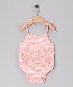 Take a look at this Pink Stripe Ruffle Bodysuit - Infant by Hula Mula & Knuckleheads on #zulily today!