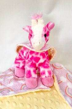 """Oh sew cuddly giraffe with her very own minky and flannel """"cape""""