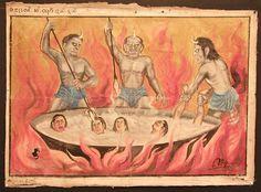 Título: Uno de los Seis Reinos del Samsara Autor: Artista birmano, anónimo Siglo XIX