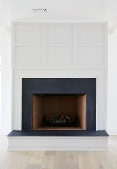 Grid Board and Batten Fireplace Paint Color Benjamin Moore Balboa Mist Fireplace Stone is Natural Slate #GridBoardandBatten #FireplacePaintColor #BenjaminMooreBalboaMist #Fireplace