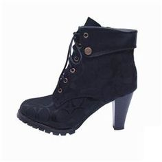 Coach Luca Lace Up Black Booties CQC
