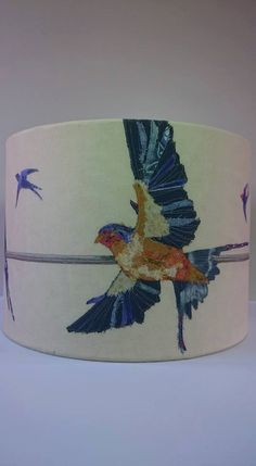 Printed swallow custom lampshade bird shade by LilCritterDesigns – Home Decor Ideas – Interior design tips Lampshade Kits, Lampshades, Free Motion Embroidery, Machine Embroidery, Lamp Shade Crafts, Ceiling Shades, Collage, Bird Pictures, Pom Poms