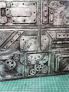 Steampunk, industrial, aged metallic drawer fronts by Stewart at www.Stewdio61.com