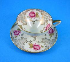 Alka Kunst Pink Rose Bavaria Germany Demitasse Tea Cup and Saucer Set