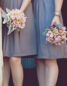 Rose and Lambs Ear Bridesmaid Bouquets