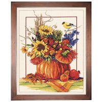 Fall Floral Arrangement Counted Cross Stitch Kit