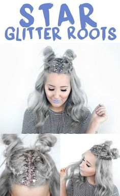 Star Glitter Roots - Best Festival-Approved Hairstyles - Photos