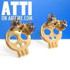 $8 Skeleton Bones Bow Tie Stud Earring with Rhinestones in Gold