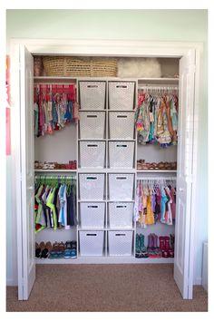 Kids Closet Storage, Toddler Closet Organization, Kids Bedroom Organization, Boys Closet, Shared Closet, Closet Bedroom, Cube Storage, Closet Ideas Kids, Family Closet
