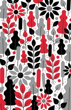 Zurich, Switzerland based Philipp Dornbierer, a. Yehteh, is a digital illustrator and designer. Textiles, Textile Patterns, Color Patterns, Print Patterns, Pattern Print, Flower Patterns, Red Wallpaper, Pattern Wallpaper, Decoupage
