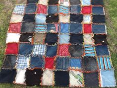 Rag quilt no 2 from my boys' old clthes