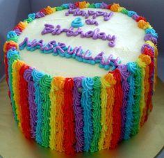 rainbow cake  | Rainbow cake with lightning mcQueen edible image