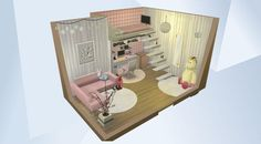 「The Sims 4」のギャラリーでこの部屋をチェック! - #Single #child #girl #bedroom with #pink and #white features and a #television at the end of her bed! #Modern at its best. Every little girls dream. #Small walls I believe.