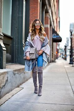 The Perfect Blanket Scarf for Winter - Nordstrom Pink Deep V-Neck Sweater // Asos Blanket Scarf // Asos Jeans // Stuart Weitzman 'Highland' Over-The-Knee Boots // Le Specs Sunglasses // Chloe 'Faye' Bag December 5th, 2016 by maria