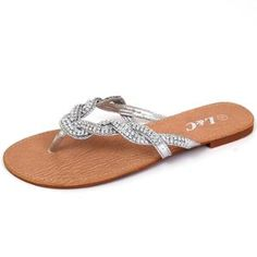 Womens Sandals Flats Flip Flops Rhinestones Thongs Rubber Outsole Woven Straps Silver Size 7