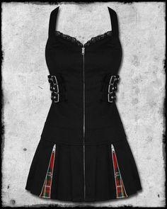 HELL BUNNY BAD GIRL BLACK RED TARTAN GOTH PUNK ZIP BUCKLE BONDAGE MINI DRESS | eBay