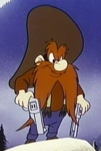 Yosemite Sam is an American animated cartoon character in the Looney Tunes and Merrie Melodies series of cartoons produced by Warner Bros. Animation. The name is somewhat alliterative and is inspired by Yosemite National Park. He is commonly depicted as an extremely grouchy gunslinging prospector, outlaw, pirate or cowboy with a hair-trigger temper and an intense hatred of rabbits, particularly Bugs Bunny.