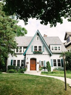 Looks like gingerbread house. Cottage style with window boxes and curved front door. Candy Lane Home. When in doubt, blue is always the perfectly complementary color! Cute House, My House, Cute Little Houses, House Goals, Of Wallpaper, Home Fashion, My Dream Home, Exterior Design, Exterior Paint