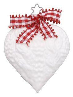 Inge-Glas Alpine Knit Heart Small Christmas Ornament