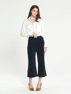 "Shop ""Tadita Wide Leg Corduroy Pants - Navy"" at pomelofashion.com"
