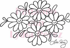 Floral Embroidery Patterns, Hand Embroidery Flowers, Hand Embroidery Designs, Beaded Embroidery, Flower Patterns, Tole Painting Patterns, Pattern Coloring Pages, Colorful Drawings, Fabric Painting