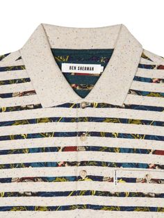 Ben Sherman Foliage stripe flecked polo shirt.