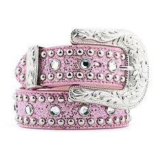 pink rhinestone cowgirl boots for women | 3D Pink Glitter and Rhinestone Belts 3609 PINK - PFI Western Store