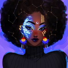 Celestial Art Print by Ozumii_Wizard - X-Small Black Art Painting, Black Artwork, 3d Artwork, Black Love Art, Black Girl Art, African American Art, African Art, Black Girl Cartoon, Black Art Pictures