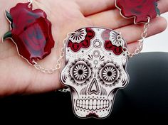 $26 Sugar Skull Necklace Day Of The Dead Dia De Los Muertos Tattoo Red Rose Black and White