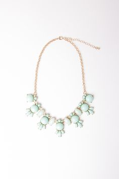 Vintage Mint Cluster Necklace